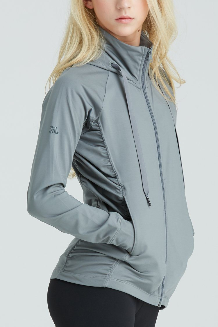 Fiora Jacket Warm-ups - Tops - Jackets Jo+Jax Light Gray Youth Medium