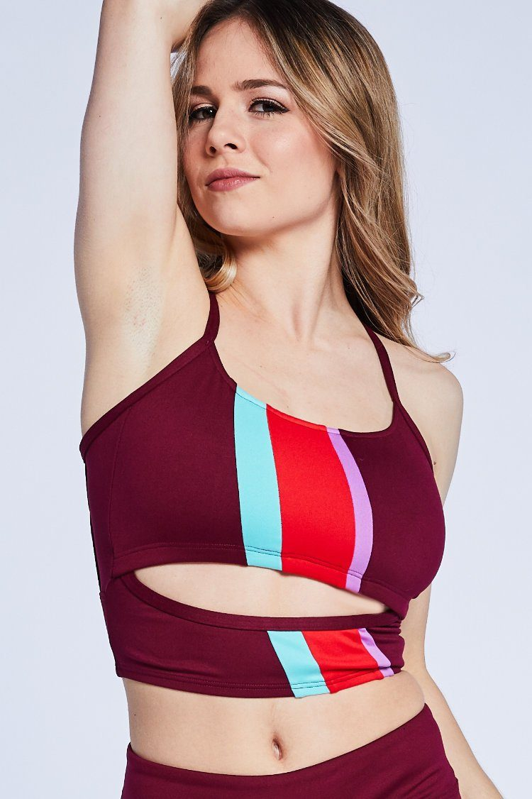 Petra Crop Fitted Wear - Tops - Bra Tops Jo+Jax Crimson Medium Adult