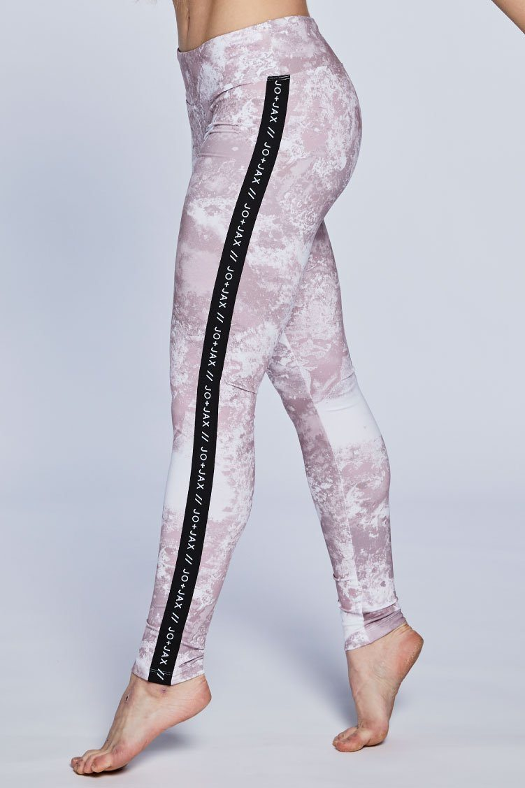 Racer Leggings Fitted Wear - Bottoms - Leggings Jo+Jax Pink Champagne/ Black Branded XX-Small Adult