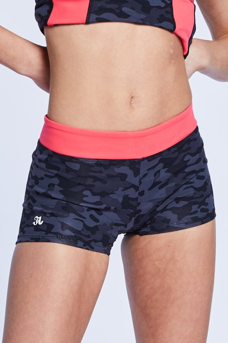 Two Tone Shorties Fitted Wear - Bottoms - Shorts BT Black Camo/Coral Large Adult