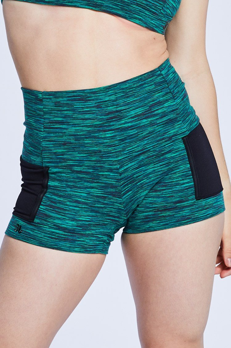 Vivian Shorts Fitted Wear - Bottoms - Shorts Jo+Jax Green Space Dye/Black Cire Large Adult