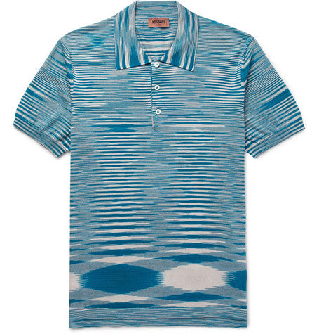 Lt Blue Missoni Knitted Short Sleeve Polo