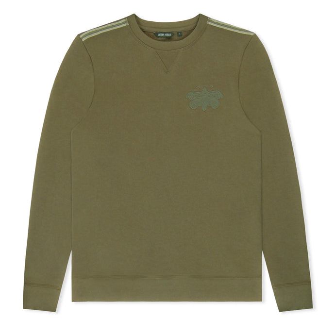 Khaki Embroided Crew Neck Sweatshirt