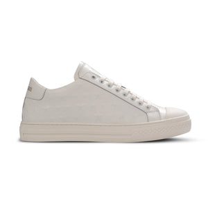 White Leather Star Embossed Lo Sneaker