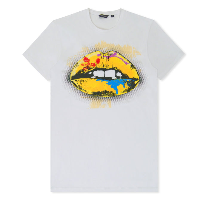 Yellow Lips Print T-Shirt White