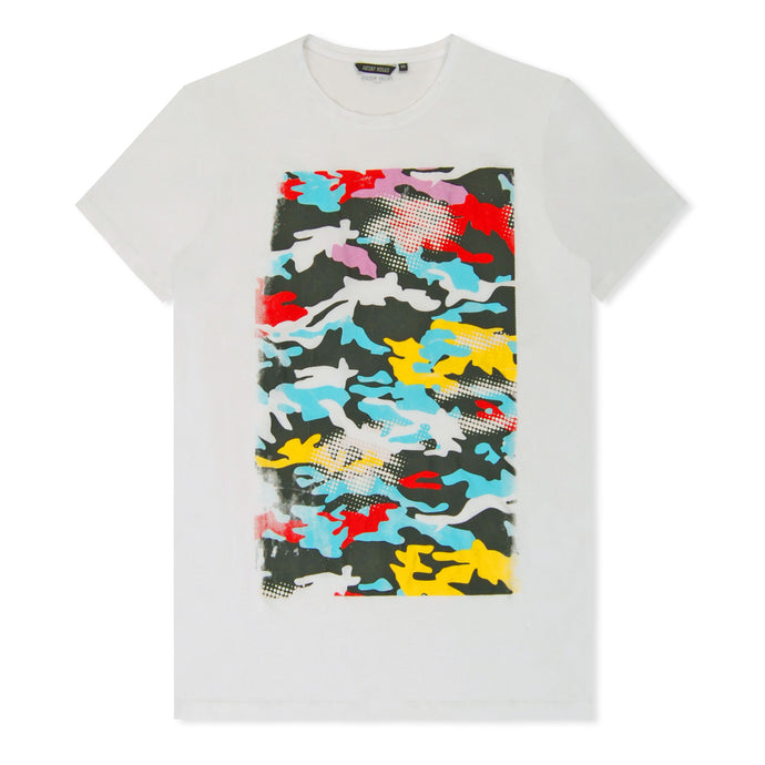 Multi Camo Print T-Shirt White
