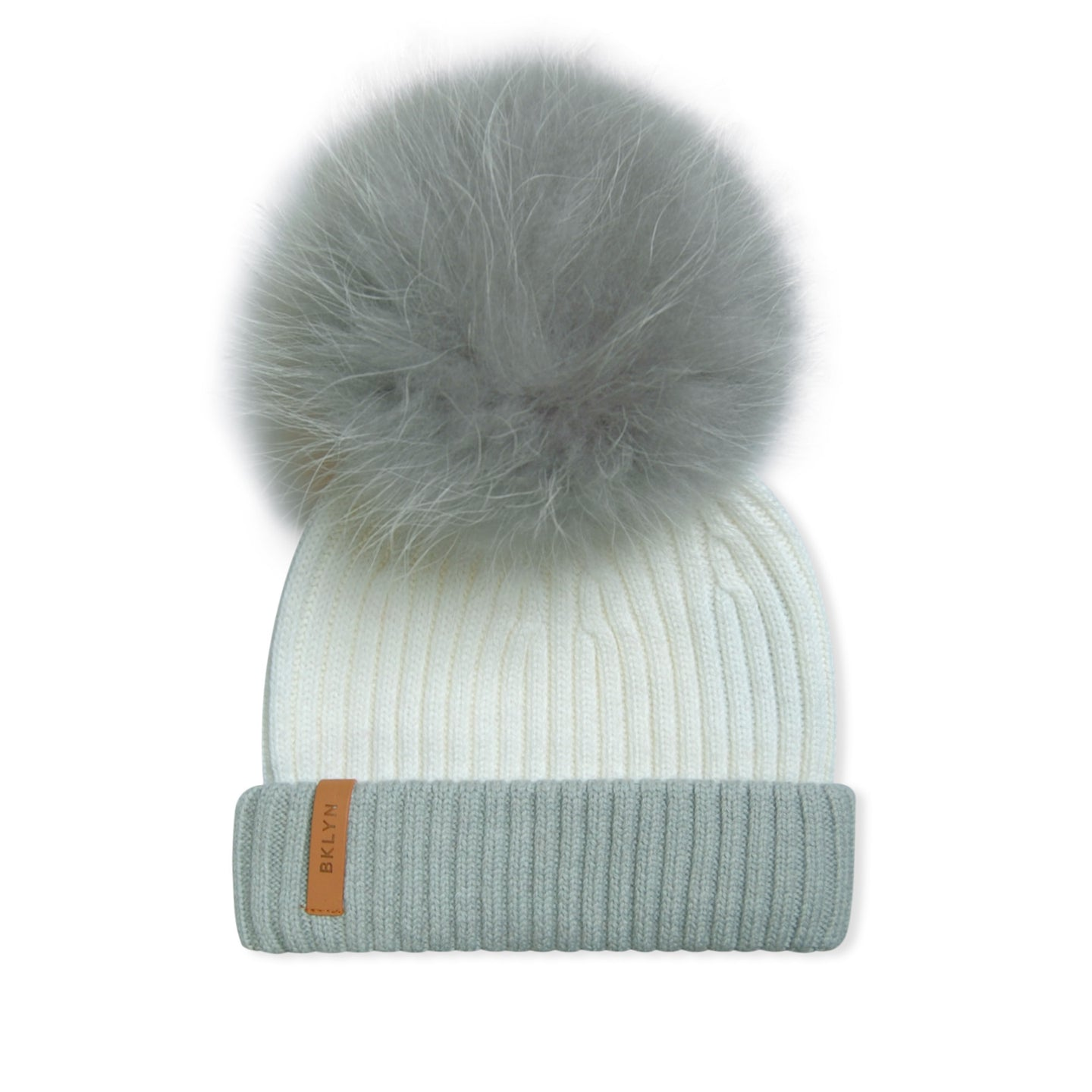 WMN White/Grey BKLYN Fur Knitted Bobble Hat