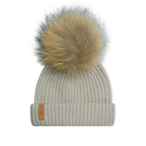 WMN Tan BKLYN Fur Knitted Bobble Hat