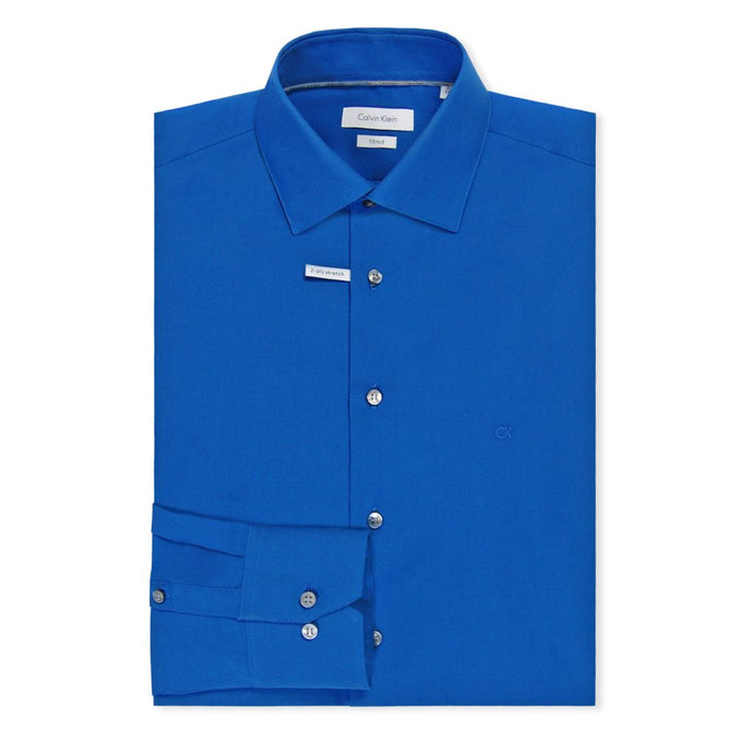 Ultra Blue Cannes Fitted Long Blue Shirt