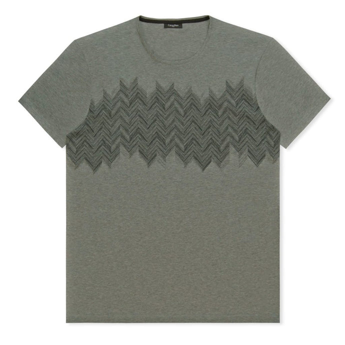 Grey Stripe Print Jersey T-Shirt