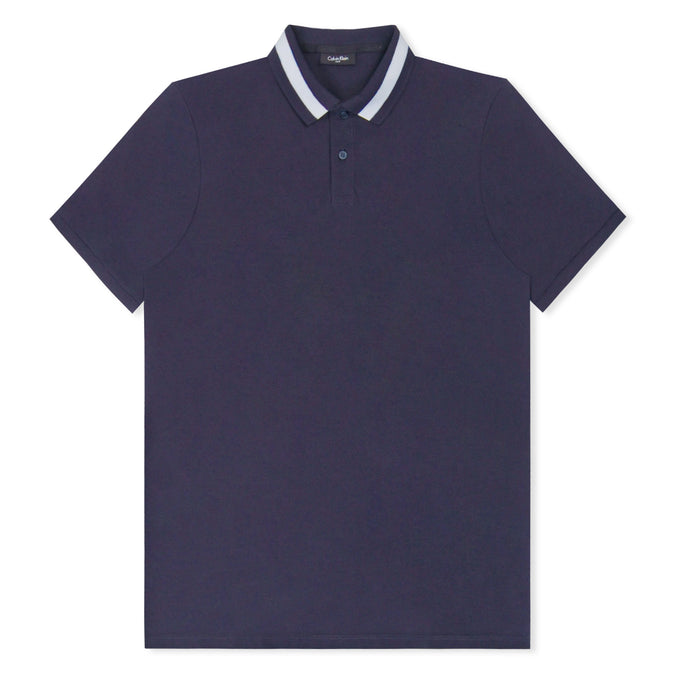 Navy-White Jall Stripe Knitted Textured Polo