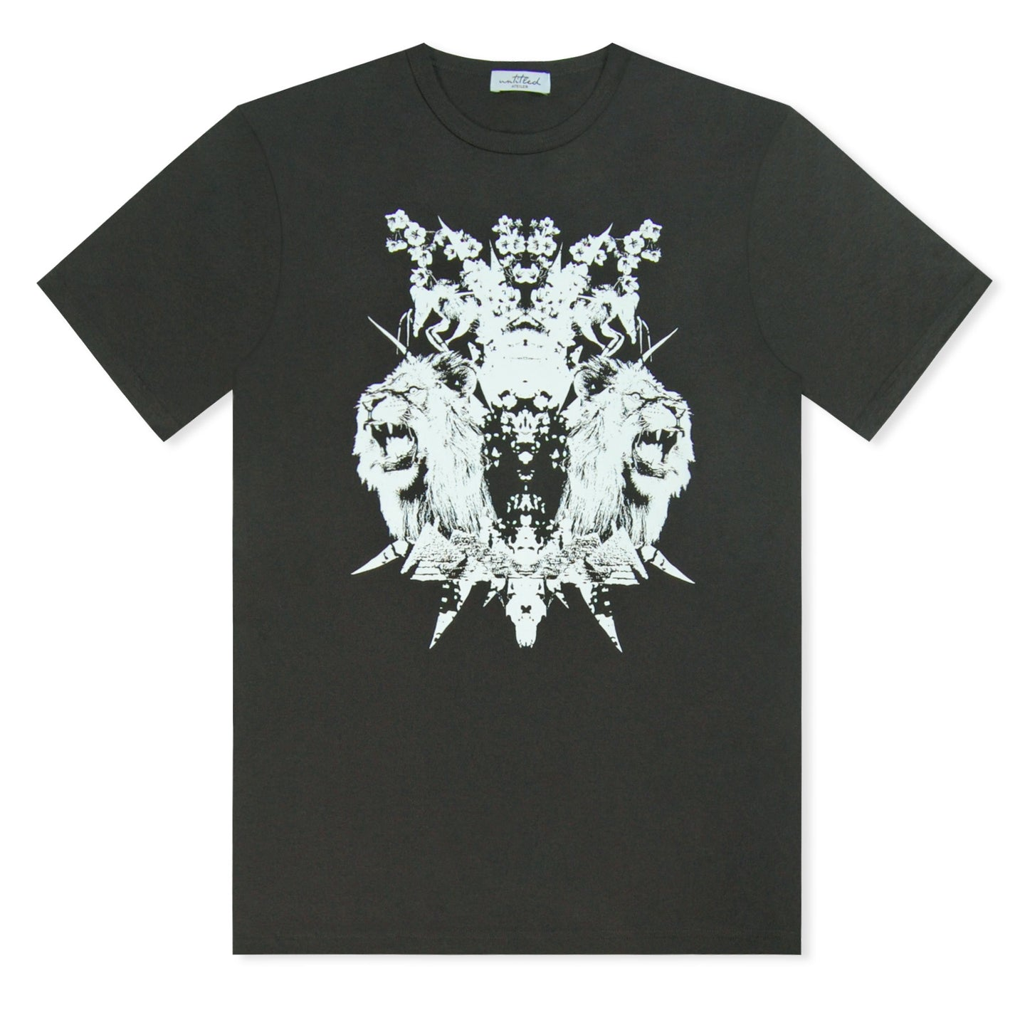 Black Untitled Atelier Geo-Metric Lion Printed T-Shirt