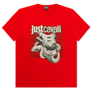 Red Just Cavalli Boar And Snake Logo T-shirt