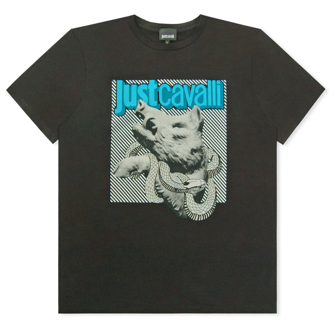 Black Just Cavalli Snake And Boar Logo T-Shirt