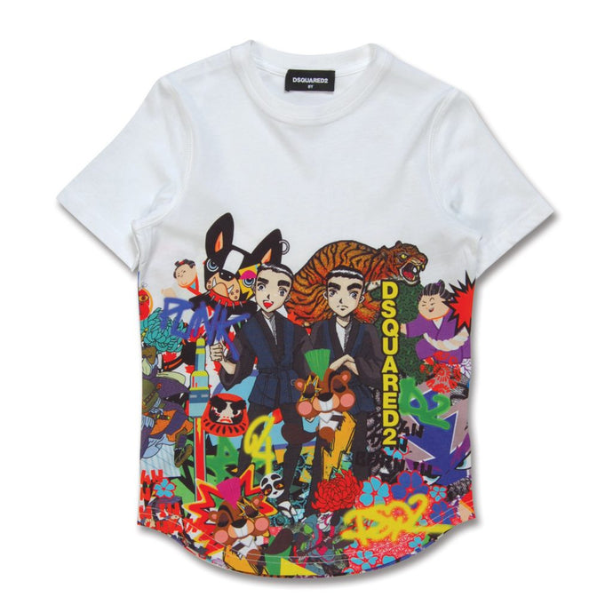 KIDS White Character Collage T-Shirt