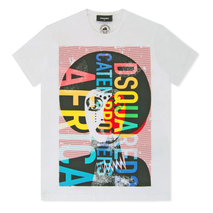 White Multi Caten Printed T-Shirt