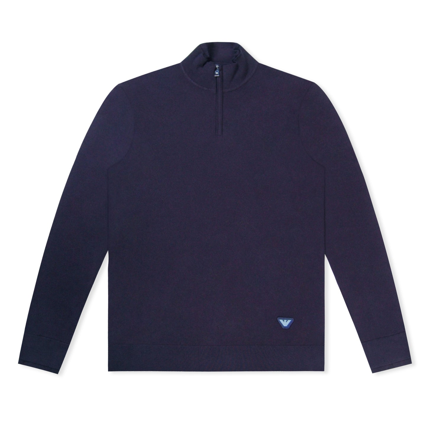 Navy Emporio Armani Half Zip Knitted jumper