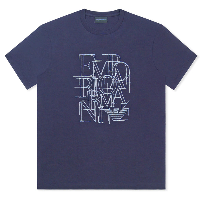 Navy Emporio Armani Embroidered Logo T-Shirt