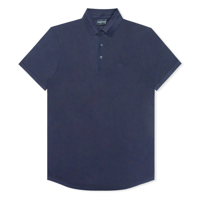 Navy Emporio Armani Pattern Collar Polo