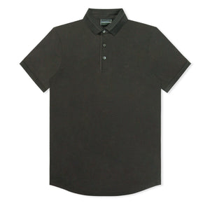 Black Emporio Armani Pattern Collar Polo
