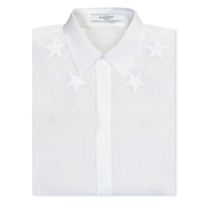 White Givenchy Star Long Sleeve Shirt