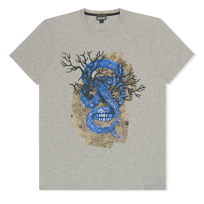Grey Just Cavalli Snake Skull T-Shirt