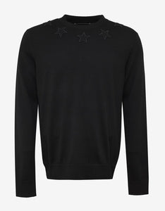 Black Givenchy Star Knitted Crew Neck
