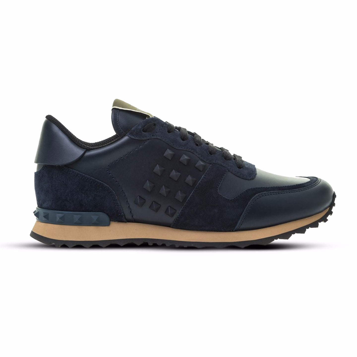 Navy Valentino Rockstud Leather/Suede Runners