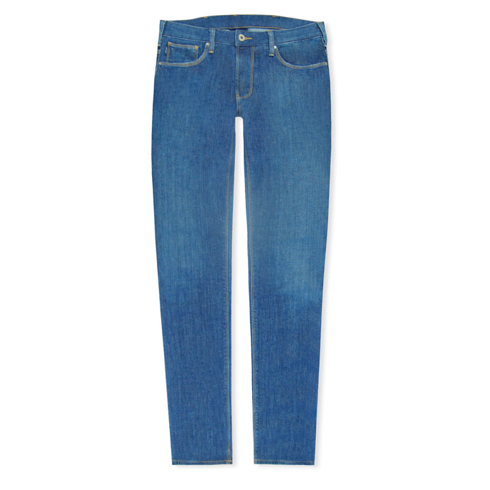 Mid Wash J06 Slim Denim Light Patch Jeans