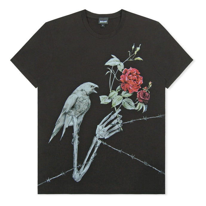 Black Skeleton Bird Print T-Shirt