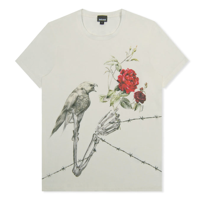 Off White Skeleton Bird Print T-Shirt