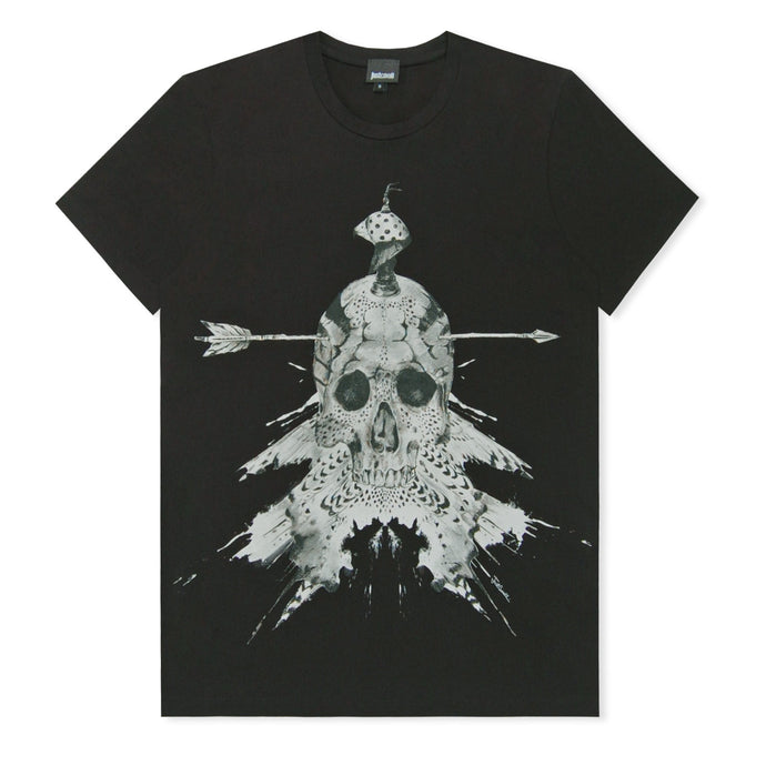 Black Indian Skull Print T-Shirt