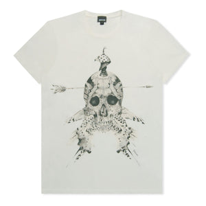White Indian Skull Print T-Shirt