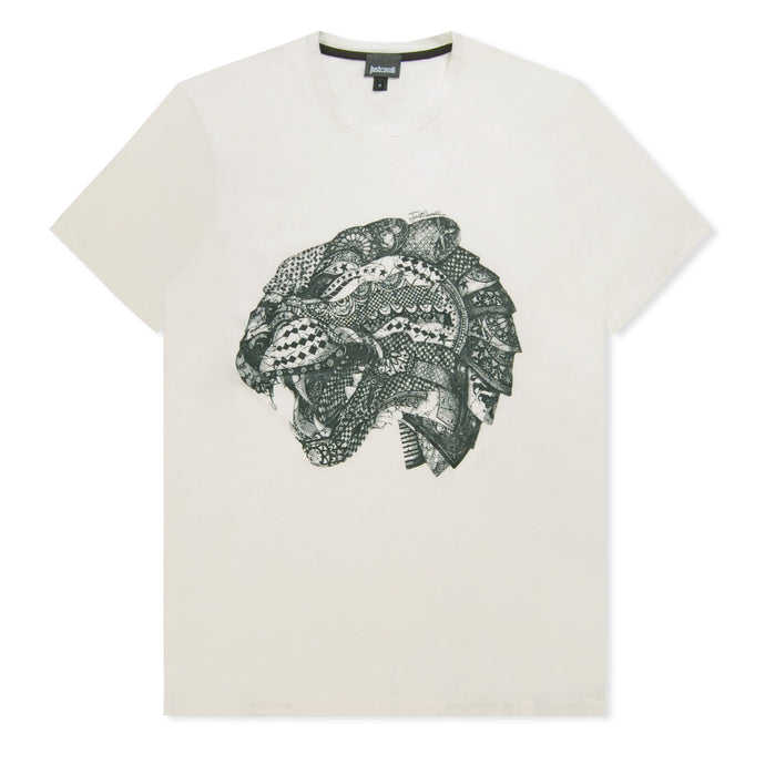 Off White Patterned Panther T-Shirt