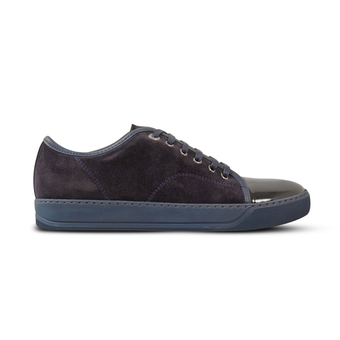 Navy Suede/Patent Leather Cap Toe Sneaker