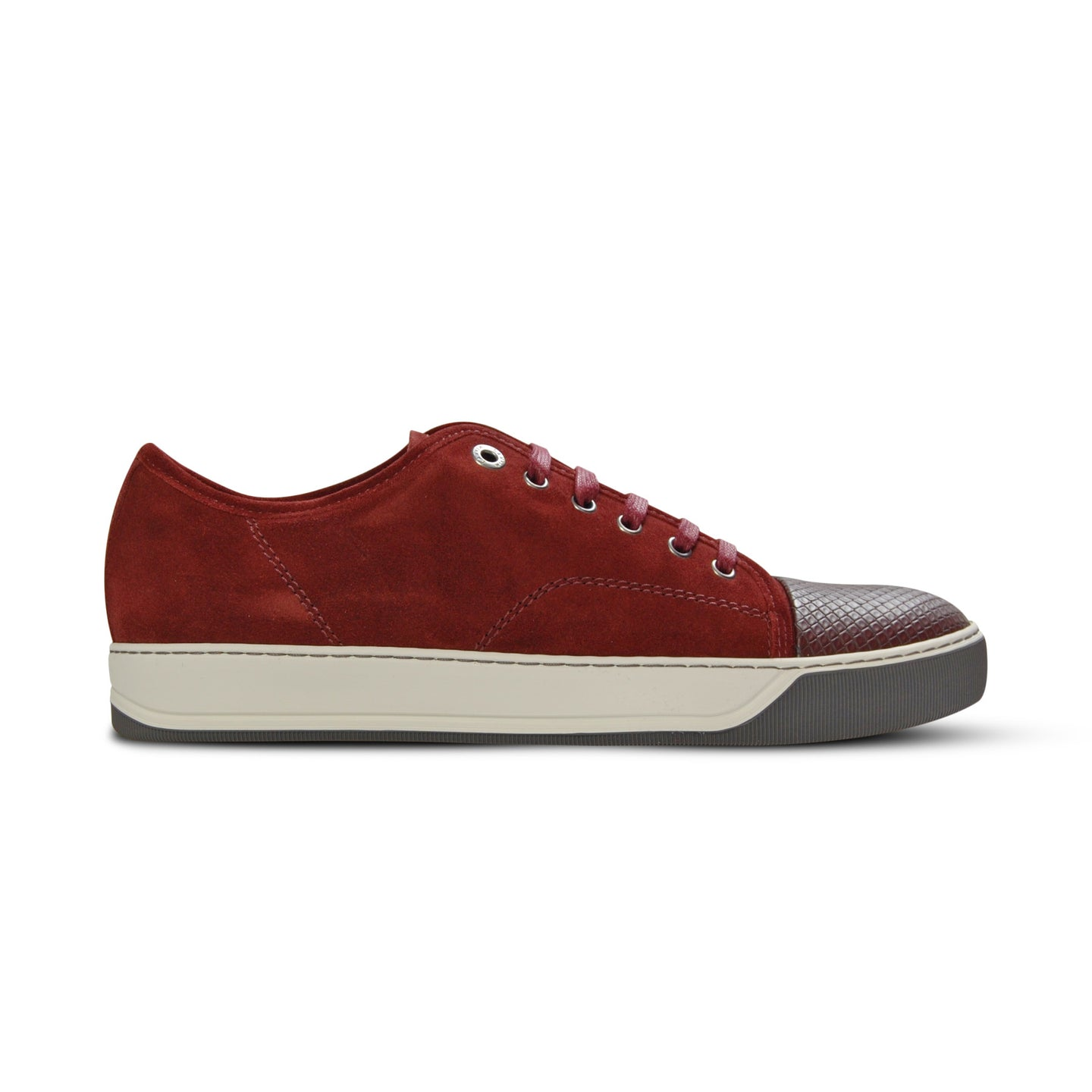 Burgundy Lanvin Pattern Cap Toe Trainers
