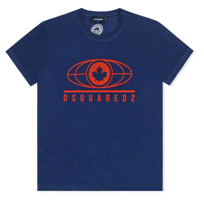 DSQUARED2 Maple Leaf Print T-Shirt Navy