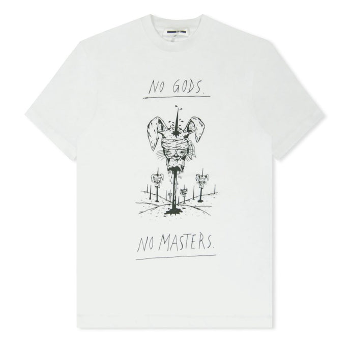 White No Gods No Masters Printed T-Shirt