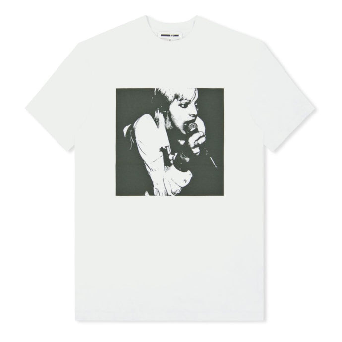 White Microphone Print T-Shirt