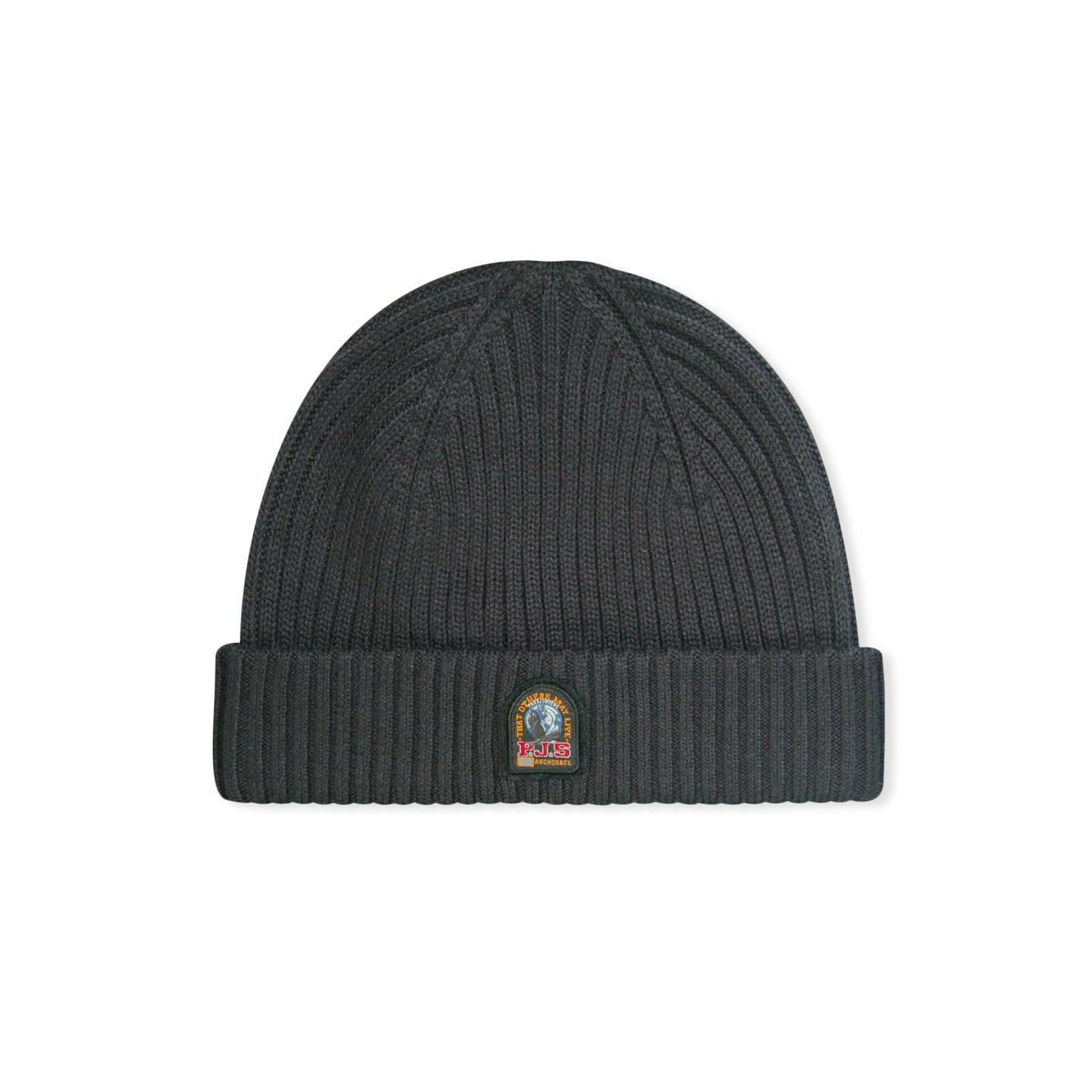 Black Parajumpers Logo Ribbed Hat