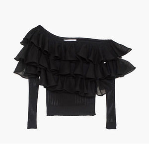 WMN Black Patrizia Pepe Ruffle Knitted Top