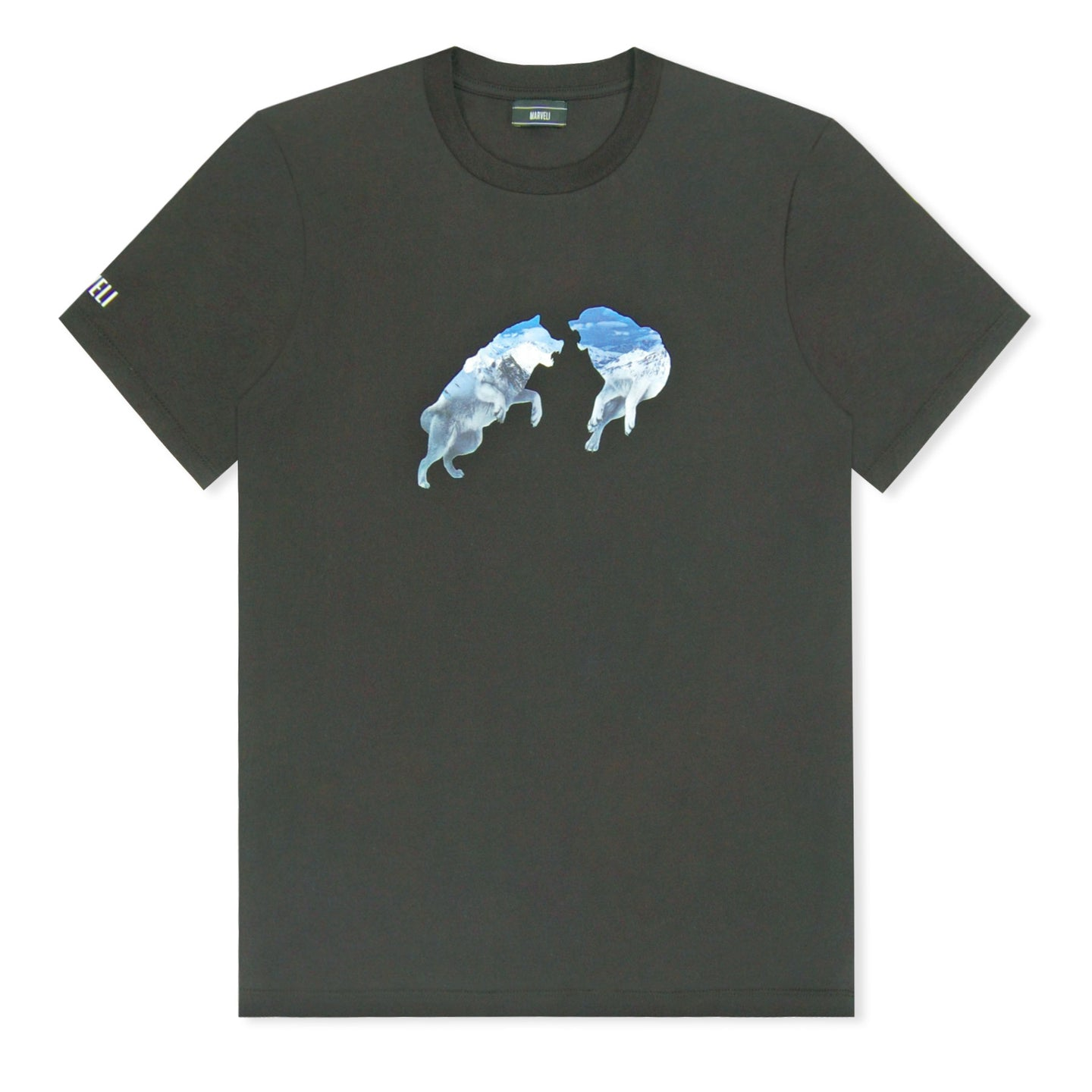 Marveli Snow Wolves Print T-Shirt Black