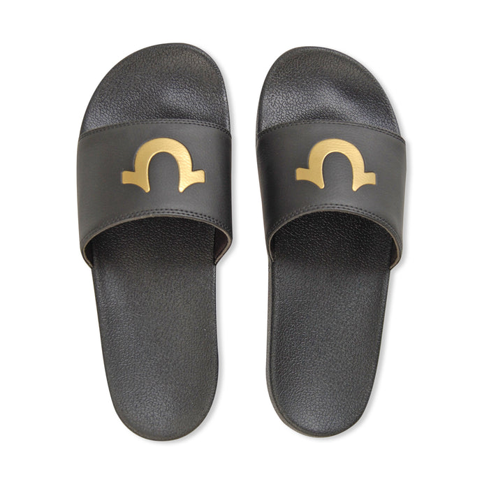 Black/Gold Horse Shoe Sliders