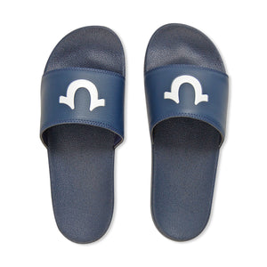 Navy/White Horse Shoe Sliders