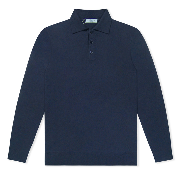 Navy Untitled Atelier Knitted LS Polo