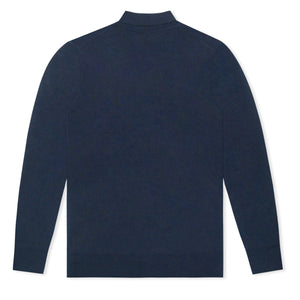 Navy Untitled Atelier Finest Merino Wool LS Polo