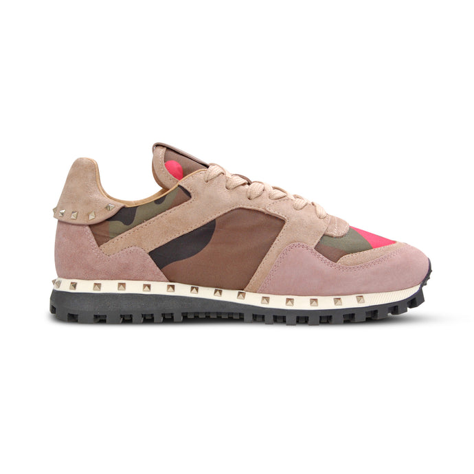 WMN Pink/Khaki Valentino Studded Trainers