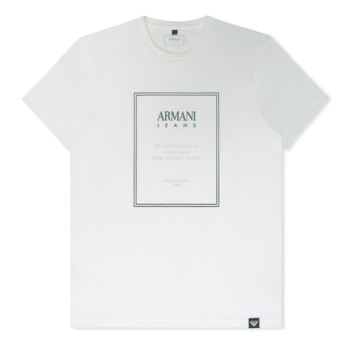 White Slim Fit Box Logo Printed T-Shirt
