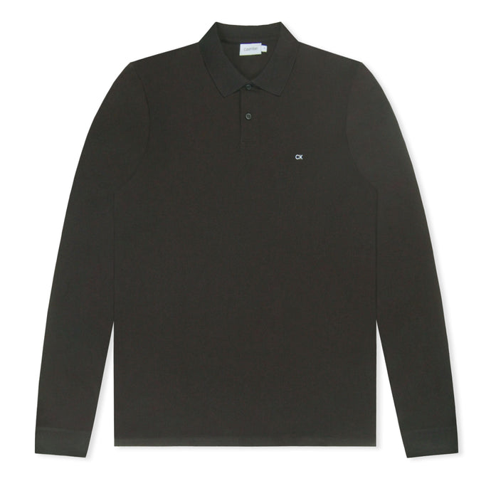 Black Calvin Klein Refined Pique Long Sleeve Polo