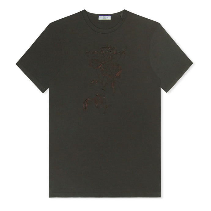 Black Untitled Atelier Embroidered Rose T-Shirt